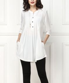 Take a look at this White Notch Neck Button-Front Tunic - Plus Too today!
