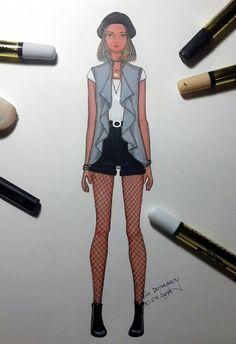 Ilustração de moda utilizando marcadores Magic-color, por Lu Denadary