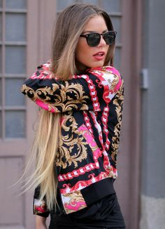 jacket pink gold sunglasses long hair urban back clothes Scarf Print pattern oriental print pretty so awesome