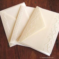 Embossed Cards Set of 6 Blank Note Cards (Variety)