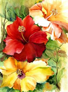 """""""Glorious Hibiscus"""" by Priscilla Powers ~ Art Work for the tropical home"""