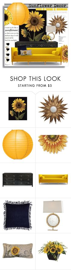 """Sunflower Simplicity"" by eilselrenrag ❤ liked on Polyvore featuring interior, interiors, interior design, home, home decor, interior decorating, WALL, Cultural Intrigue, Bernhardt and Joybird"