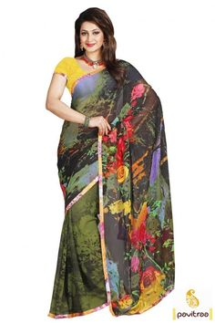 Green Yellow #Georgette Printed #Saree Online Shopping India @ http://www.pavitraa.in/catalogs/beautiful-printed-sarees-collection/?utm_source=pk&utm_medium=pinterestpost&utm_campaign=8March