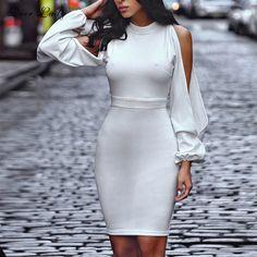 9129c6665d0d Dame de cerfs Robe Moulante Pour Femmes 2017 Nouveaut eacute s Sexy Mini  Halter Robe Blanc Cut Out Manches Robe Stretch Cr ecirc pe robe