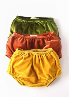 Velvet Baby Bloomers, The cutest little shorts for fall in the best fall shades! Handmade in the U.S. Available in Yellow Gold, Avocado, and Rust! At  TheRubyRabbit.com