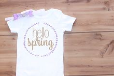 "Baby Light Purple & Gold ""Hello Spring"" Onesie With Purple and Gold Glitter Appliqué and Hair Bow"