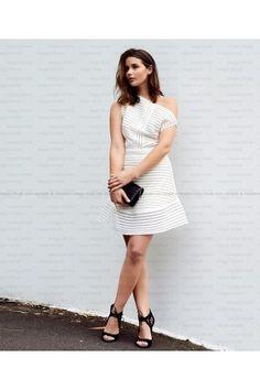Bqueen White Elegant Hollow Out Mesh Off Shoulder Dress MX166 | USTrendy