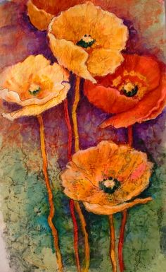 """Batik Poppies"" by Carol Nelson"
