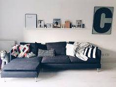 Ikea Soderhamn Modular Sofa in Dark Grey seater no ottoman) in Hougang Pun. Söderhamn Sofa, Ikea Couch, Home Office Furniture, Sofa Furniture, Home Living Room, Living Room Decor, Ikea Soderhamn, Dark Gray Sofa, Grey