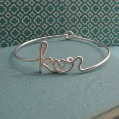 Two Lovers Bracelet (in Sterling silver -- custom 2 initials with heart in Wire)