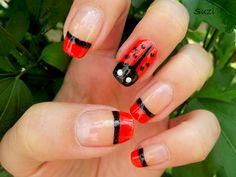 Beauty by Suzi: Nail Art and Design (Meh. Wasn't crazy about the French tip nails with one ladybug accent nail. Why not do ladybugs on all the nails when they're this easy? Or solid red or solid black nails around the accent nail? Nail Art Vidéo, Nail Art 2014, Nails 2014, Red Nail Designs, Beautiful Nail Designs, Nail Polish Trends, Nail Polish Colors, Nail Polishes, Cute Nails