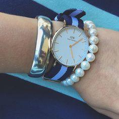 """Stripes on stripes #danielwellington #pearls #prep #preppy #a_classic_touch #stripes"" Photo taken by @a_classic_touch on Instagram, pinned via the InstaPin iOS App! http://www.instapinapp.com (07/23/2015)"