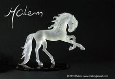 PRE Stallion unique glass sculpture flameworked by Malem Sculptures, Lion Sculpture, Glass Artwork, Equine Art, Glass Jewelry, Creatures, Horses, Statue, Artist