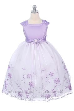 MB_106L - Flower Girl Dress Style 106-Lilac with White - Purple - Flower Girl Dress For Less