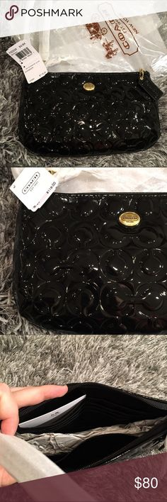 """COACH Peyton Op Art Patent Leather Large Wristlet Brand New COACH - Peyton Op Art Embossed Patent Leather Large Wristlet F50539 Black  Still in original packaging, never used, still has tags. It's just been sitting in my closet!! Great classic design and color goes with everything! Can fit a phone inside even with room to spare and also several card slots Zip-top closure, fabric lining Strap with clip to form a wrist strap or small top handle 9 1/2"""" (L) * 5 1/4"""" (H) * 1 3/4"""" (W) Coach Bags…"""
