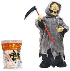 Animated Halloween Zombies Scary Prop Crazy Moving Grim Reaper Home Decor Free…