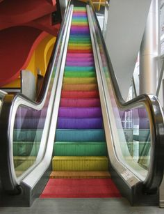 The escalator was first patented by Jesse W. Reno on March 15 Later it was redesigned by Charles Seeberger 1897 when he came up with the name 'escalator.' The escalator has helped us today by making going up and down a lot easier than stairs. Love Rainbow, Taste The Rainbow, Over The Rainbow, Rainbow Colors, Rainbow Stuff, Rainbow Things, Rainbow Pride, Rainbow Candy, Bright Colors