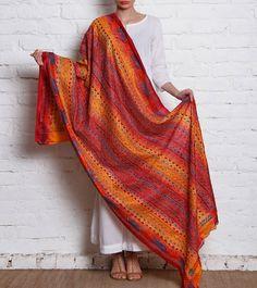 Red Kantha Embroidered Tussar Silk Dupatta