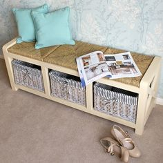 Storage Entryway Bench Wood Hallway Seat Baskets Woven Cushion Living Room Store