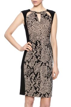 Snake printed sheath dress with cap sleeves side panels cut outs at the neckline and anexposed back zipper closure.  Print Sheath Dress by Joseph Ribkoff. Clothing - Dresses - Printed Canada