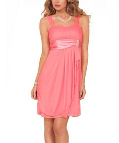 This Peach Satin-Sash Empire-Waist Dress by Hot From Hollywood is perfect! #zulilyfinds