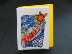 "Blank Art Card - ""Thanks"" - 5 x 7 - Zentangle Inspired - Thank You Note - Colorful - Bright - Cheerful by CreateThriveGrow on Etsy https://www.etsy.com/listing/262960911/blank-art-card-thanks-5-x-7-zentangle"