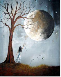 SURREAL ART PRINT blue moon girl dreaming dreamscape dead tree landscape grass medium wall decor