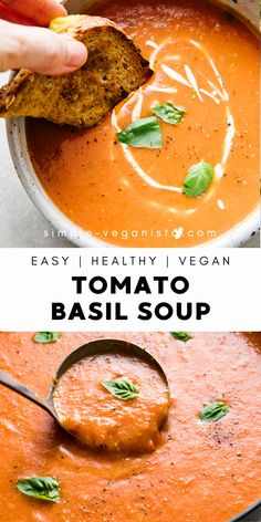 Tomato Basil Soup is made with fresh tomatoes, onion, garlic and basil for a deliciously creamy tomato soup that's ready in about 30 minutes! Vegan and gluten free recipe. Homemade Tomato Basil Soup, Vegan Tomato Soup, Tomato Soup Recipes, Vegan Soups, Vegan Dishes, Vegetarian Recipes, Healthy Recipes, Whole 30 Tomato Soup, Healthy Tomato Soup Recipe