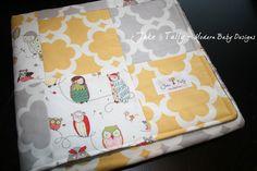 Owl Patchwork Quilt - Owl Crib Quilt in Yellow & Gray, Gender Neutral Baby Crib Blanket. $75.00, via Etsy.