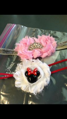 pink princess shabby chic headband & Minnie Mouse headband I made for a sweet customer!