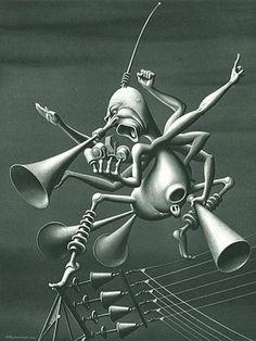 """Radio Propaganda"" Boris Artzybasheff (1899, Russia) Murals Street Art, Sci Fi Art, Surreal Art, Art Google, Online Art Gallery, Art Reference, Fantasy Art, Illustration Art, Art Illustrations"