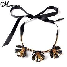Women Silk Rope Acrylic Flower Vintage Statement High Quality Big Brand Collar Choker Necklace 2190