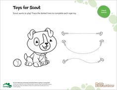 LeapFrog Printable: Toys for Scout- Coloring and tracing simple objects helps young children practice their pencil control, a skill they'll need for writing.