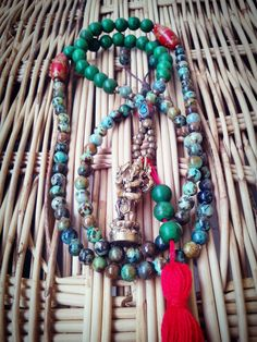 108 Bead mala 6 mm African Turquoise beads, Ganesh pendant necklace, Tassel jewelry by AbourShop on Etsy