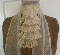 Reserved Antique Edwardian Ecru Ruffled Lace Jabot via Etsy