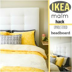 IKEA HACKS - What a transformation! I will show you how to make an upholstered headboard and how to turn an old IKEA malm bed into a completely new one. Ikea Design, Design Design, Diy Ikea Hacks, Diy Tufted Headboard, Headboard Makeover, Headboard Ideas, Fabric Headboards, Bedroom Makeovers, Panel Headboard