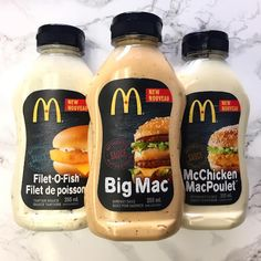 McDonald's will be selling bottles of Filet-O-Fish, McChicken, and of course, Big Mac sauce at grocery stores. Big Mac, Sandwich Sauces, Bagel Sandwich, Mcdonalds Breakfast Sauce Recipe, Breakfast Recipes, Mcdonald Menu, Big Tasty, Sauce Tartare, Mayonnaise