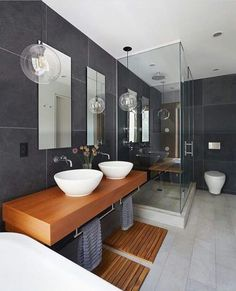 Get inspired with these gray bathroom decorating ideas. Restroom ideas, Gray bathroom walls, Half bathroom decor,Grey bathrooms inspiration, Classic grey bathrooms and Images of bathrooms. Modern Bathrooms Interior, Modern Bathroom Design, Contemporary Bathrooms, Bathroom Interior Design, Bathroom Designs, Modern Interior, Luxury Bathrooms, Interior Livingroom, Chic Bathrooms