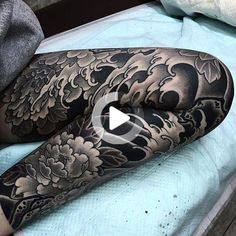 Japanese leg sleeve tattoo by @nami_chang.  #underratedink #japanesetattoo #irezumi #tebori #blackandgrey #blackandgreytattoo #cooltattoo #legtattoo #largetattoo #tattoosleeve #flowertattoo #wavetattoo #naturetattoo @japanesecollective @japanesetattoo @reclaimthedots @bestirezumi #legtattoos