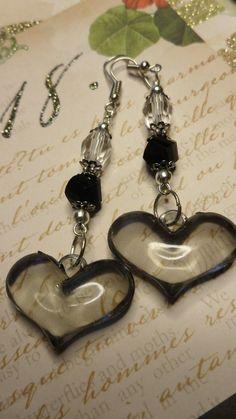 Black Puffed Hearts & Crystal Dangle Earrings $6.99