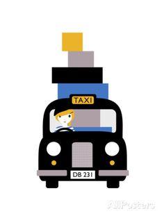 Taxi Impression giclée par Dicky Bird sur AllPosters.fr