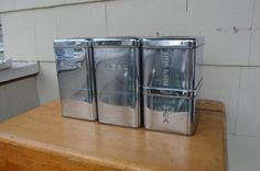 Vintage Canister Set Stainless Steel Canister by EclecticJunction, $50.00