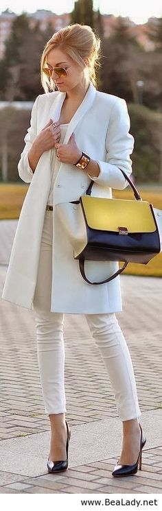Gorgeous White Coat and Shirt, Blue & Yellow Handbag and High Heel Pumps - HUMPhooks for the purse www.humphooks.com