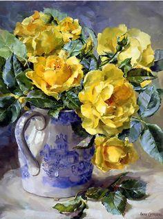 Rosas Amarillas - Tarjeta en blanco / de cumpleaños por Anne Cotterill Flower Art