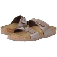 Birkenstock Sydney (Hazel Birko-Flor   ) Women's Shoes ($95) ❤ liked on Polyvore featuring shoes, sandals, leather sandals, narrow shoes, leather shoes, birkenstock sandals and wide sandals
