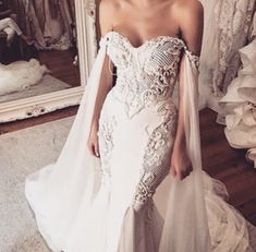 Fairy Mermaid Wedding Dress Off Shoulder Sleeves Applique Sweetheart Bridal Gown Fairy Wedding Dress, Cheap Wedding Dress, Dream Wedding Dresses, Bridal Dresses, Wedding Gowns, Mermaid Wedding, Dramatic Wedding Dresses, Wedding Dresses With Cape, Wedding Cape