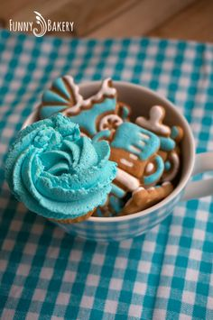 Decorated Cookies and Cupcake for Baby party for little baby boy