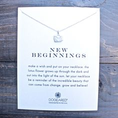 """dogeared reminder """"new beginnings"""" necklace in sterling silver"""