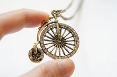 Vintage Style Bike Bicycle Necklace With Sparkle Rhinestone. $5.99, via Etsy.