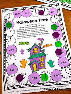 Halloween Board Game, Halloween Math, Halloween Projects, Easy Halloween, Telling Time Activities, Math Activities, Third Grade Math Games, Math Board Games, Subtraction Games